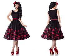 Geblümte knielange Damenkleider im 50er-Jahre-Stil mit Rundhals