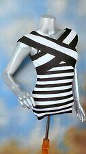 INC INTERNATIONAL CONCEPTS rib knit black white stripe criss cross blouse top S