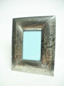 TAHARI Silver Plate Paisley Chintz Photo Picture Frame 10 ½x8 ½ Glass 5 ½x 3 ½
