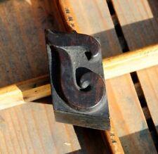letter: I rare wood type letterpress printing block woodtype font antique print.