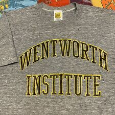 Vintage 80s Wentworth Institute T Shirt Adult S Gray College Tri Blend USA Rayon