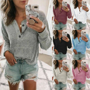 Womens Sweatshirt Blouse Ladies Jumper Loose Tee Knitted Pullover Buttons Tops