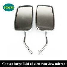 2PCS 10MM Motorcycle Rectangular Rearview Side Rearview Mirrors Aluminum Stem
