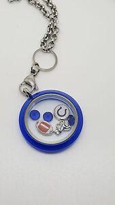 Indianapolis Colts Floating Charm Locket Blue Fashion Pendant Necklace