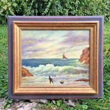 """Peinture encadré """"La pêche à pied"""" (Bretagne - L.M Bergès)"""