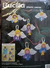 "NIP Angel Ornaments/Magnets, Set of 6, app. 4"" x 3"", Bucilla Plastic Canvas Kit"