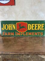 3-55 VINTAGE STYLE ''JOHN DEERE'' GAS & OIL DEALER 24x8.5 INCH PORCELAIN SIGN