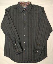 7 for All Man Kind Men L Shirt Dress Causal Gray Black Silver Stripe Large