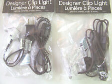 2 Single Clip Light C7 Bulb On/Off Switch BROWN Cord Christmas Villages NEW