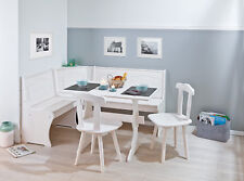 Eckbankgruppe, Essgruppe, Massivholz, weiß, 4-teilig, Eckbank, Tisch, 2 Stühle