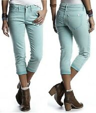 Chip & Pepper CA Otter Aqua Blue Stretch Skinny Denim Jeans Capri, 27R, $68