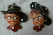 PAIR OF VINTAGE CZECH  CLAY CERAMIC HAND PAINTED BOY & GIRL WALL MASK