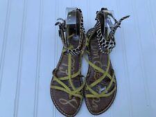 SAM EDELMAN Gable Gladiator Ankle Multi Strap Yellow Animal Print Sandal Zebra 6