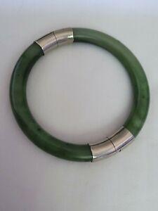 Silver Nephrite Jade Bangle Bracelet 39g