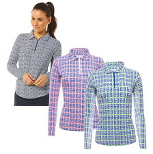 IBKUL Womens Geo Key Print Long Sleeve Zip Polo 41512 - New 2020