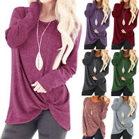 Womens Long Sleeve Baggy T-Shirt Ladies Solid Blouse Tops Tunic Casual Plus LIU9