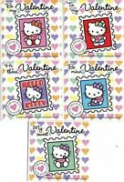5 x Square Stickers ~ Hello Kitty Heart Valentine Stamp Kitten Party Favours ~