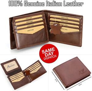 Mens GENUINE Leather Wallet Slim RFID Blocking Trifold pocket Purse Card Holder