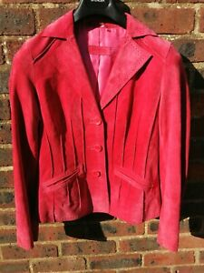 BETTY BARCLAY DESIGNER LADIES PINK LEATHER SUEDE FITTED JACKET SIZE 10