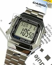 Casio Silver Retro Vintage Classic Alarm Digital Unisex Watch A178 A-178W-1A New