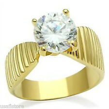 Ladies 8mm Clear Round Cut 1.97ct CZ Stone 18kt Gold EP Ring Size 10