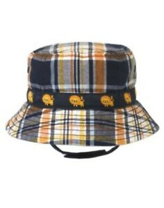GYMBOREE FRIENDLY LION ORANGE PLAID LION BUCKET HAT 0 3 6 12 18 24 NWT