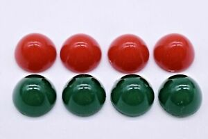 Dome Top Cabochon 11mm Red Green Round Imitation Stones Western Germany Vintage
