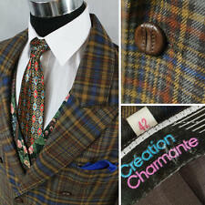 CREATION Mens Wool Check Plaid Double Breasted Jacket Blazer SIZE XL, UK 44