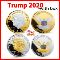 2x GoId/Sliver Keep America Great Donald Trump 2020 Coins Eagle Challenge Coin