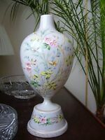 Opaline glass vase hand painted high quality detailed floral decoration