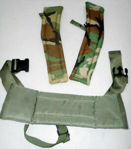 US MILITARY WAIST PAD AND 2 WOODLAND SHOULDER PADS FOR ALICE PACK GENTLEY USED