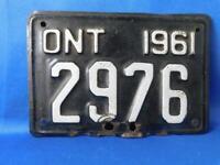 ONTARIO LICENSE PLATE MOTORCYCLE 1961 HARLEY HONDA YAMAHA CANADA BIKE SHOP SIGN