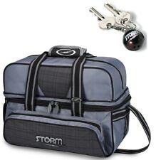 Storm 2 Ball Tote Bowling Bag w/ shoe pocket Plaid Grey & Storm Keychain