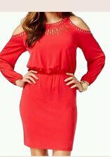 Thalia Sodi NEW Crimson Leaf Red Medium M Blouson Cold-Shoulder Dress