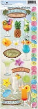 PAPER HOUSE TROPICAL DRINKS COCKTAILS BEACH VACATION CARDSTOCK SCRAPBOOK STICKER