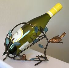 Wine Bottle Holder Stand Bronze Metal Birds Branches Verdigris Leaves Unique