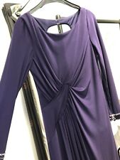 Gina Bacconi Purple Long Sleeve Sequin Tie Evening Gown 12 BNWT