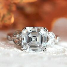 2.50 CT White Asscher Cut Solitaire D/VVS1 Diamond Engagement Ring 925 Silver