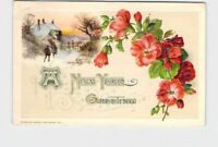 PPC POSTCARD WINSCH NEW YEAR PINK ROSES SNOW COVERED COTTAGE EMBOSSED