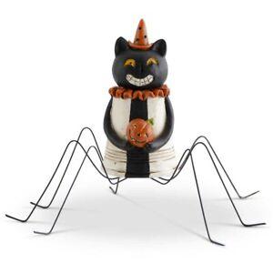 "Halloween Spider Black Cat w/Metal Legs Figurine Folk Art 4.5"" Pumpkin Scary"
