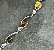 Mahogany Honey Green Baltic Amber Sterling Silver Bracelet Healing stone