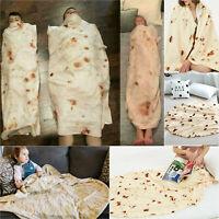 Adults Kids Burrito Blanket Throw Tortilla Flannel Fleece Texture Throw Blanket