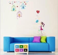 Wandtattoo Wandsticker Wandaufkleber Ballons Mädchen Käfig Vögel 140 x 130 W094