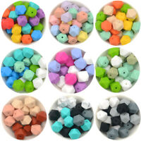 10Pcs Hexagon Rainbow Silicone Beads Baby Teething Necklace Teether Toys Making
