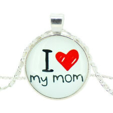 I LOVE MAMA MUTTI MOM Herz Kette HINTER GLAS Halskette Farbe Silber Neu 1219
