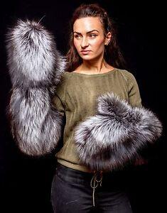 Genuine Superior Silver Fox Fur Handmade Trending Massive Elbow Mittens Gloves