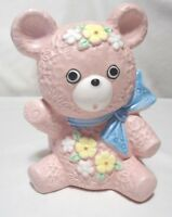 Vintage Inarco Japan ceramic Teddy Bear planter in pink w/blue bow. SUPER CUTE !