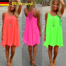 DE Damen Sommer Strand Chiffon Trägerkleid Mode Fluoreszenz Mini Kleid Jumper