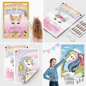 Pin the Horn on the Unicorn Games - Pin the Tail Game - Birthday Party Games