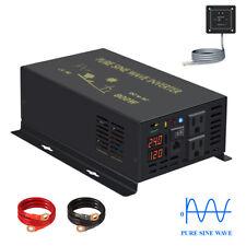 Pure Sine Wave Power Inverter 800W 12V to 110V Cordless Switch 1600w Peak Car RV